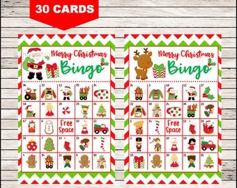 30 Christmas Bingo Cards - DIY Printable Game for Christmas Party, Instant Download - Chevron Santa Bingo Game
