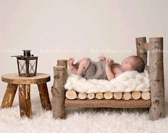 Log Bed Newborn Baby Prop DIGITAL BACKDROP BACKGROUND