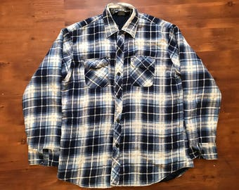 Vintage distressed flannel longsleeve shirt by Craig Andrew heavy material large