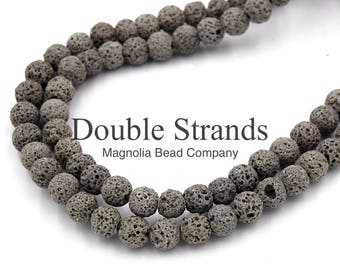 """Two 15.5"""" strands Lava Rock Beads Gray 8mm, Two 15"""" strands"""