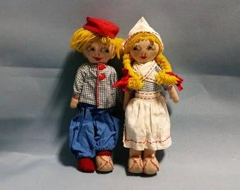 Vintage Pair of Handmade Dutch Cloth Dolls