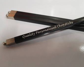 PERSONALISED ENGRAVED Natural Dark Wood Chopsticks, with silver metal tip - Unique White Infill Chinese New Year