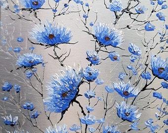 """Fleurs bleues-3 9"""" x 7"""" acrylique sur aluminium à l'état naturel / Blue flowers-3 9 in x 7 in acrylic on natural aluminum"""
