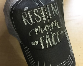 Resting Mom Face-Distressed Trucker Hat w/Silver Glitter