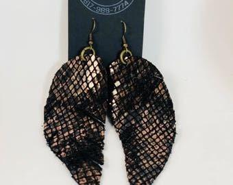 Brown black leather earrings