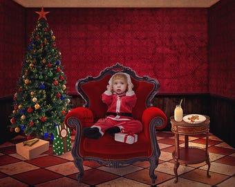 Christmas Digital Background - Santa Chair Background - Christmas Tree - Portrait Indoor - Photographers Digital Background - Red Room - kid