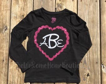 Little Girls Monogram shirt, little girls shirt, custom shirts, vinyl shirts, Valentine's Day Shirt
