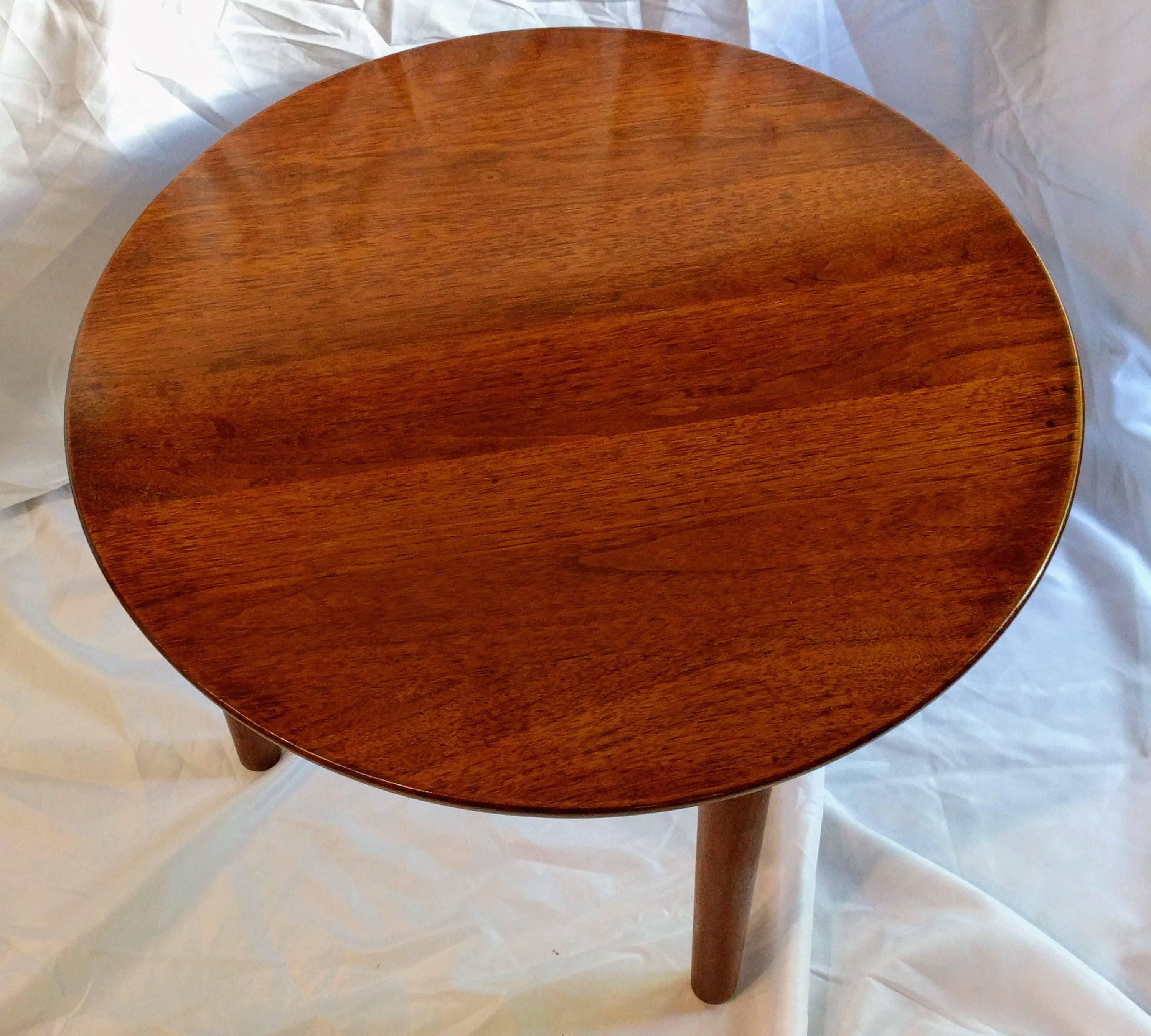 Vintage Mid Century Modern Round Walnut Coffee End Table