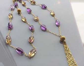 Long Ametrine Gold Vermeil Chain and Tassel Necklace, Ametrine Necklace