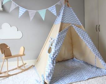 Teepee Tent / Wigwam / Play Tent / Blue Chevron