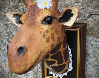 UNIQUE piece available - Trophy decorative handmade giraffe head.