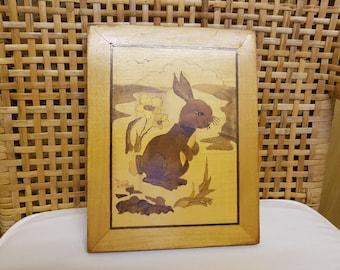 Wooden rabbit marquetry plaque 28 x 18cm