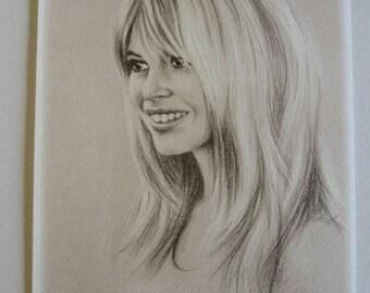 Portrait of Brigitte Bardot Reproductionsur A4 art paper