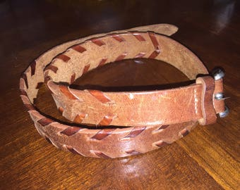 Vintage Leather Waist Belt, Brown Leather Belt with Woven Leather Accents, 1970s Leather Dress Belt
