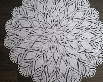 Crocheted tablecloth, doilie , 96 centimeter, white, vintage