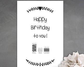 Happy birthday to you birthday card! black and white