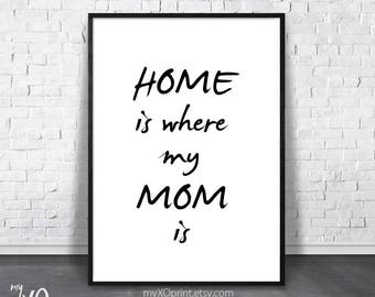 Gift Mom, Home Is Where My Mom, Printable Art, Mother Quote, Digital Download, Typography Poster, Mother's Day Print, Inspirational Wall Art