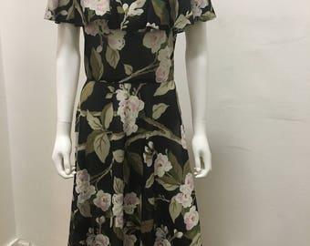 1970's vintage see through polyester flower printed dress