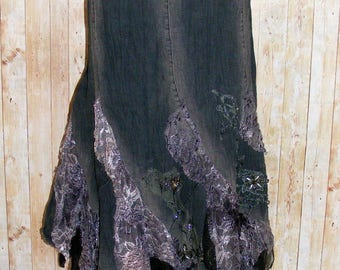 Size 14 vintage 90s extreme flared lace/jewelled maxi skirt black denim (HP80)