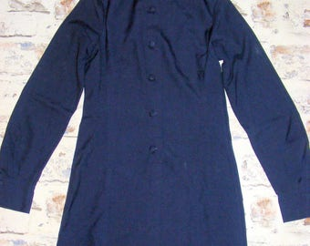 Size 8 vintage 60s long sleeve a line collarless button dress dark blue (GX15)