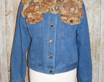 Size 16 vintage 80s loose fit denim jacket tapestry yoke/shoulders blue (HO84)