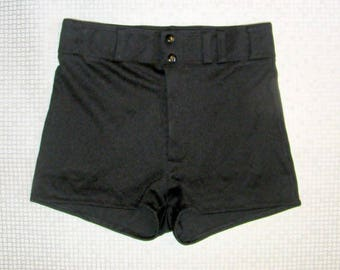 Size 12-14 vintage 70s extra high waist stretchy cheeky hotpant shorts (HY70)