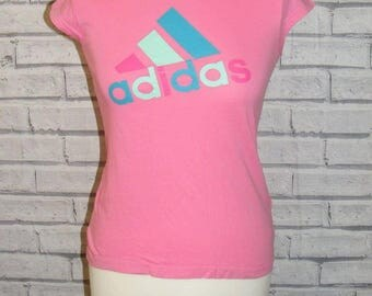 Size 10 vintage 90s Adidas cap sleeve scoop neck fitted t shirt hot pink (HQ96)