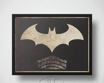 ON SALE Batman Art Print, Arkham Asylum, The Dark Knight Movie Poster
