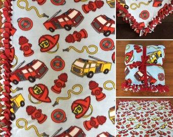 LARGE FIRETRUCK Handmade Fleece Tie Blanket | 55x65 | Fire Fighter Blanket | For Your Little Fireman | Firetruck Bedding | Fire Truck