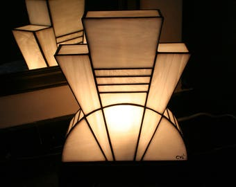Lamp Art Deco stained glass Tiffany white purity