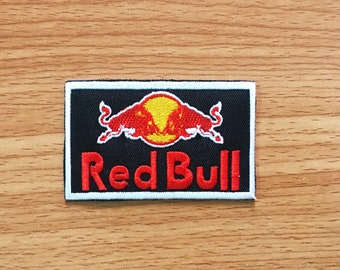 Red Bull Logo Energy drink Badge Sport Racing Embroidered iron on patch, Motorcycle Racing, Patch Motorcycle