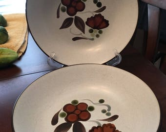 Vintage Noritake Folkstone - Orinda 8540 - Genuine Stoneware - 8 Inch Vegetable Bowls - Set of 2 - Made Between 1975 - 1981 - Made in Japan