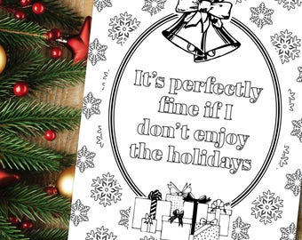 Xmas Night In, Mental Health Quote Coloring Page, Winter Indoor Activity, Holiday Self Care Ideas