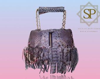 Python Bag Ibiza Blue & Dark Pink