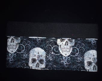Snood reversible black fleece and cotton skull on black on order