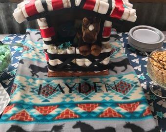 Diaper Cake, Blanket, & Burp Cloth Baby Gift Set