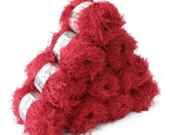 10 x 50 g effect yarn LEA with fringes, #225 Red