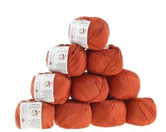 10 x 50 g knitting wool cotton gem #547 dark orange
