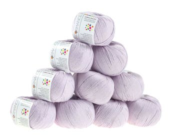 10 x 50g knitted yarn cotton marble, #50 lilac