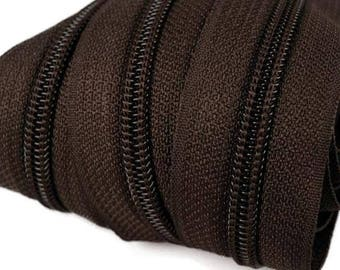 6m of endless zipper 5mm with 15 zippers and tails 304 dark brown