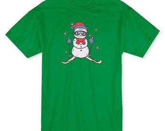 Cute Christmas Snowman Skiing  Men's Kelly Green T-shirt