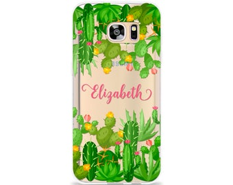 Phone Case for Galaxy S8, Samsung Galaxy S7 edge, Samsung Galaxy S6 edge, Personalized, Cactus, Rubber, Clear, Gel, Soft, Flexible, Custom