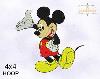 Happy and Cool Mickey Mouse Embroidery Design | 4x4 Hoop Machine Embroidery Design | Hus, Jef, Pes, Tap, Xxx Embroidery Design