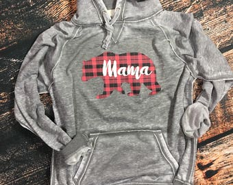 Women's Mama Bear Buffalo Plaid Distressed Hoodie