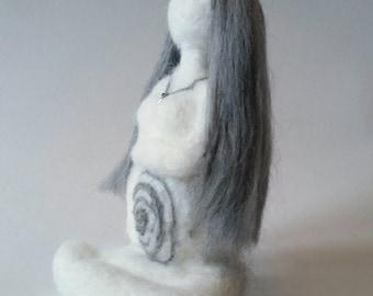 Wiccan air goddess - needlefelt goddess - fibre art goddess - pagan goddess