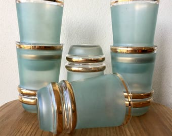 Set of 6 Retro 1960s Blue-Green and Gold Leaf Glass Tumblers