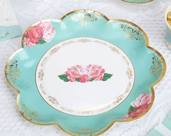 Eternal Rose Plates - Paper Party Plates 26cm,shabby chic,tea party,wedding,tableware,china look
