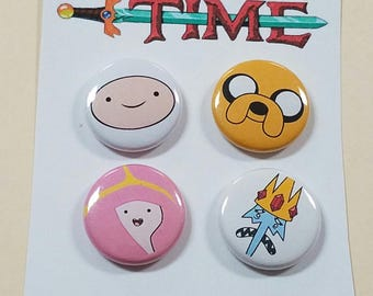 "Adventure Time (Set of 4) 1"" Button or Magnet"