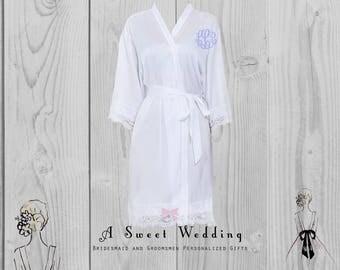 Silk Bride's Robe with Lace Trim-FREE MONOGRAM- Bride's Getting Ready Robe With Monogram- With Front or Back Monogram