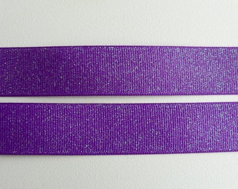 "Purple Glitter Grosgrain Ribbon 7/8""/22mm wide x 1 meter    Base colour - 465"